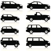 Silhouetted, generic, car icons. Includes small to large family cars, SUVs, MPVs and pick ups. Layered and grouped for ease of use. Download includes EPS8 file and hi-res jpeg.