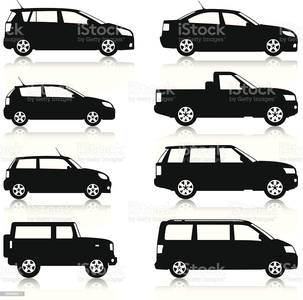 Car Silhouettes set vector art illustration