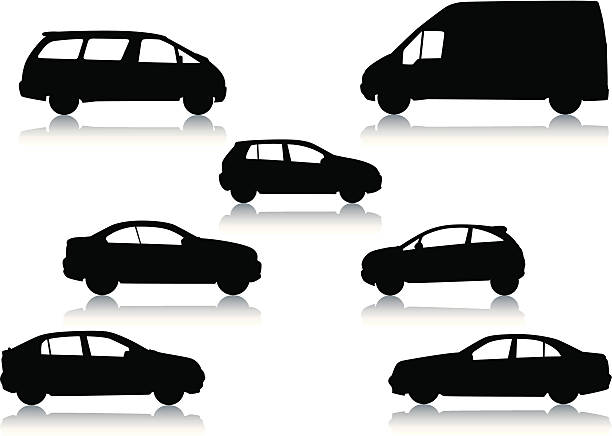 Car silhouettes Vector illustrated silhouettes of cars, and vans. One of a series. hybrid car stock illustrations