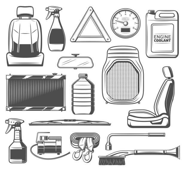 autoersatzteile und werkzeuge, wartungs-service - funktionssofa stock-grafiken, -clipart, -cartoons und -symbole
