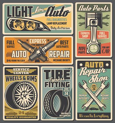 Car spare parts. Auto tire, piston and spark plugs