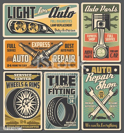Car service and auto repair spare parts retro posters. Vector wheel, tire and rim, vehicle engine piston, wrench and spanner, spark plugs and automobile lights. Mechanic garage and workshop design