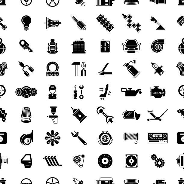illustrazioni stock, clip art, cartoni animati e icone di tendenza di noleggio di ricambio motivo vettoriale senza interruzioni - close up auto