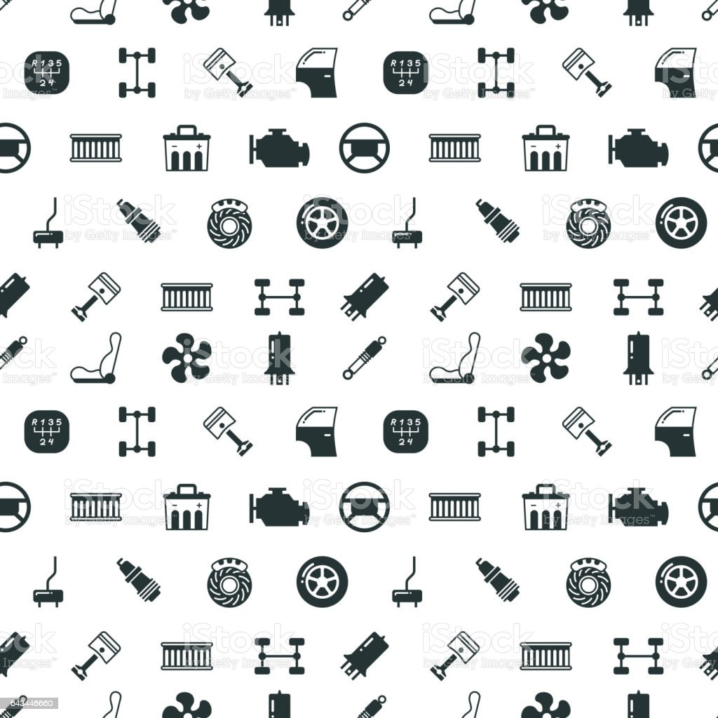 Car Spare Parts Vector Seamless Pattern Stock Vector Art & More ...