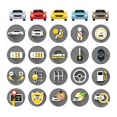 Car Specification and Performance Objects icons Set