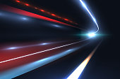 Car speed lines. Light trails tragic of long exposure abstract vector background