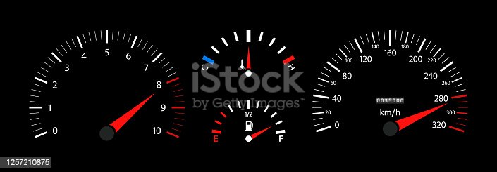 Car speedometer, dashboard, tachometer and temperature gauge. Vehicle with digital display. Scale of gage of fuel, speed, rpm. 3d panel with instrument. Velocity motorbike or car with odometer. Vector