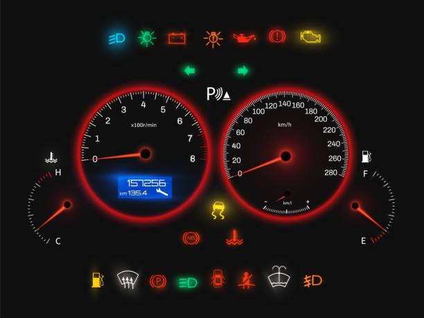 stockillustraties, clipart, cartoons en iconen met auto snelheidsmeter, realistische weergave van het configuratiescherm van moderne auto - dashboard