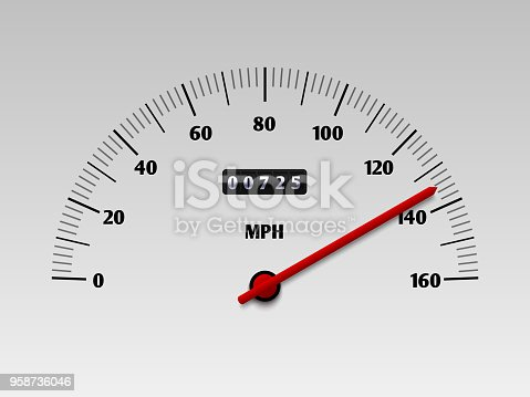 Car speedometer with speed level scale or tachometer vector illustration isolated on white background. Dashboard power car, panel speed