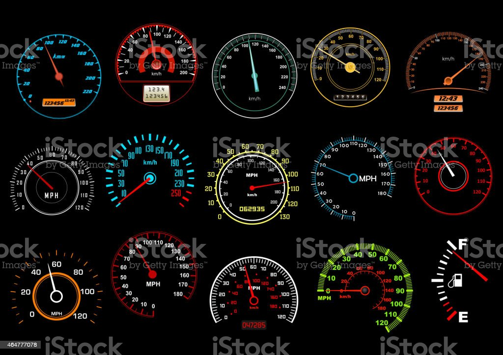 Car speedometers on black background vector art illustration