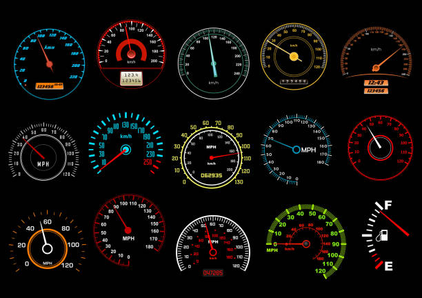 Car speedometers on black background Car speedometers on black background for transportation, racing or another design speedometer stock illustrations