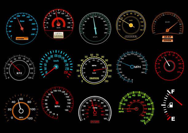 auto speedometers, auf schwarzem hintergrund - nummernscheibe stock-grafiken, -clipart, -cartoons und -symbole