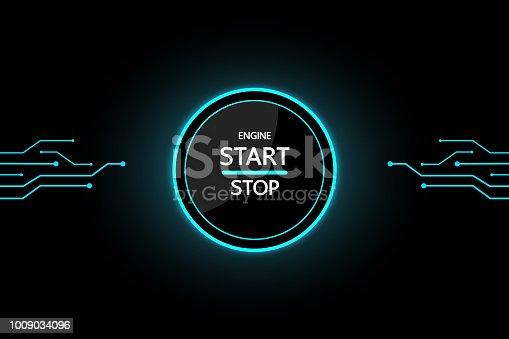 Car Start Button on black background modern design for future.