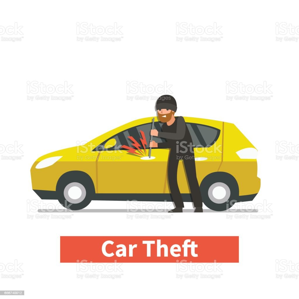 car stealing vector art illustration