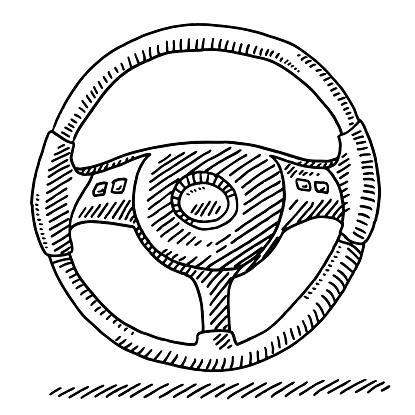 Car Steering Wheel Drawing