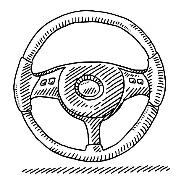 Car Steering Wheel Drawing Hand-drawn vector drawing of a Car Steering Wheel. Black-and-White sketch on a transparent background (.eps-file). Included files are EPS (v10) and Hi-Res JPG. motor sport stock illustrations