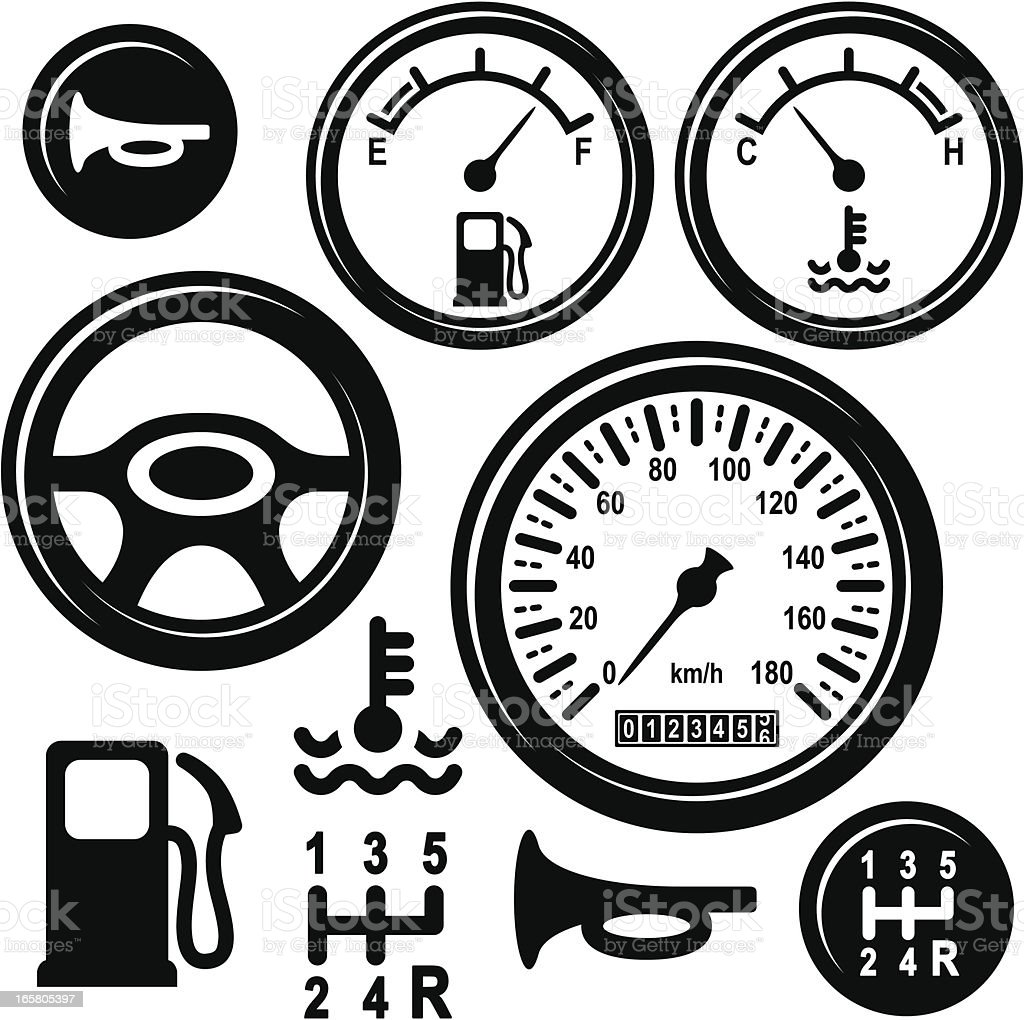 Car Steering Wheel, Gear, Horn, Fuel, Temperature, Speed Control Icons vector art illustration