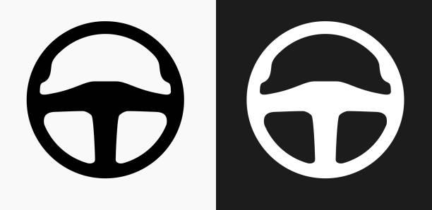 bildbanksillustrationer, clip art samt tecknat material och ikoner med bil ratt ikonen på svart och vit vektor bakgrunder - wheel black background