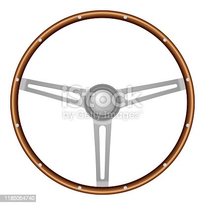 Car steering wheel on a white background. Vector illustration.