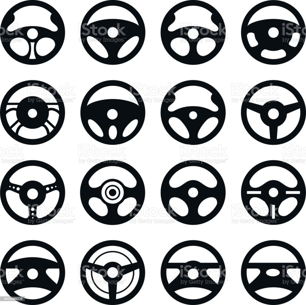 Auto Lenkrad. Vektor-Set. – Vektorgrafik