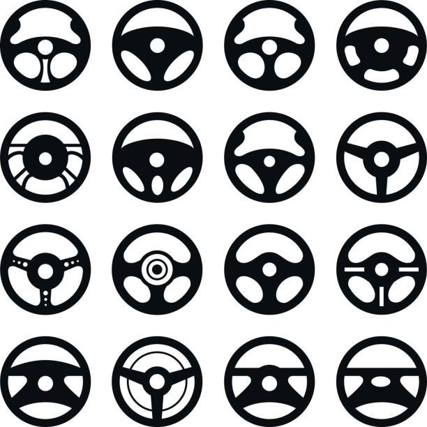 Car steering wheel. Vector set. Car steering wheel. Vector set. steering wheel stock illustrations