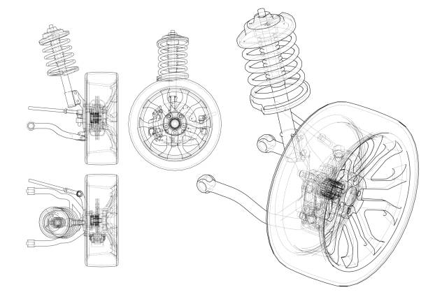 Car suspension with wheel tire and shock absorber Car suspension with wheel tire and shock absorber. Vector rendering of 3d. Wire-frame style. The layers of visible and invisible lines are separated tire vehicle part stock illustrations