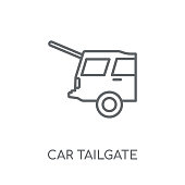 car tailgate linear icon. Modern outline car tailgate logo concept on white background from car parts collection. Suitable for use on web apps, mobile apps and print media.
