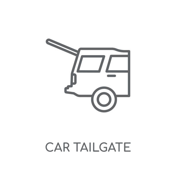 car tailgate linear icon. Modern outline car tailgate logo concept on white background from car parts collection car tailgate linear icon. Modern outline car tailgate logo concept on white background from car parts collection. Suitable for use on web apps, mobile apps and print media. boot stock illustrations