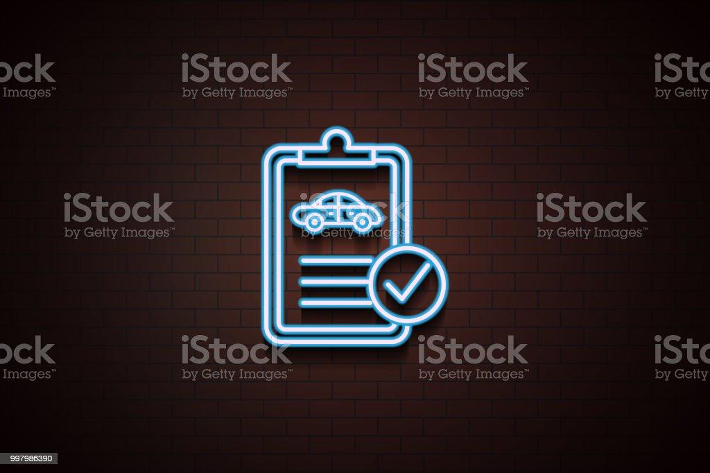 Autotechnisches Dokumentsymbol In Neonstil Auf Ziegelmauer Stock