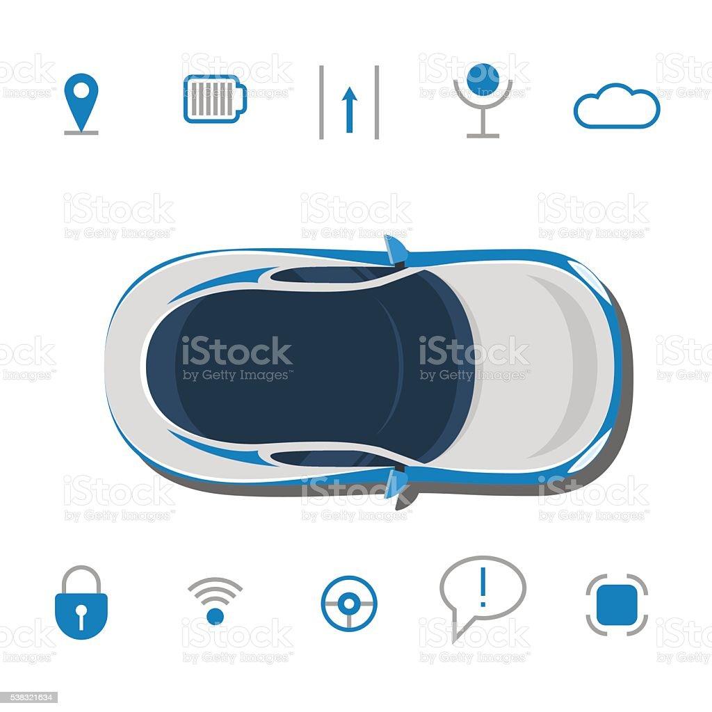 Car technology sign. Driverless car technology features vector art illustration
