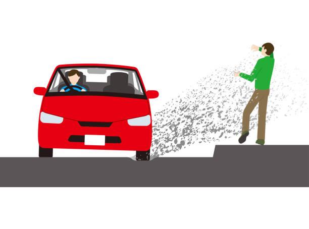 A car that splashes mud on pedestrians vector art illustration
