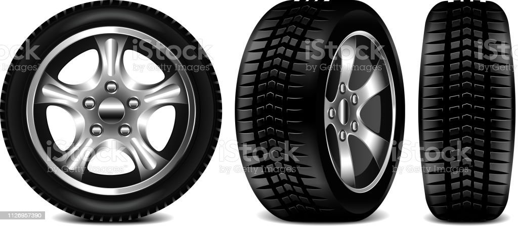 Car tire 3 views isolated on white vector illustration Car tire 3 views isolated on white photo-realistic vector illustration Black Color stock vector