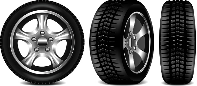Car Tire 3 Views Isolated On White Vector Illustration Stock Illustration - Download Image Now