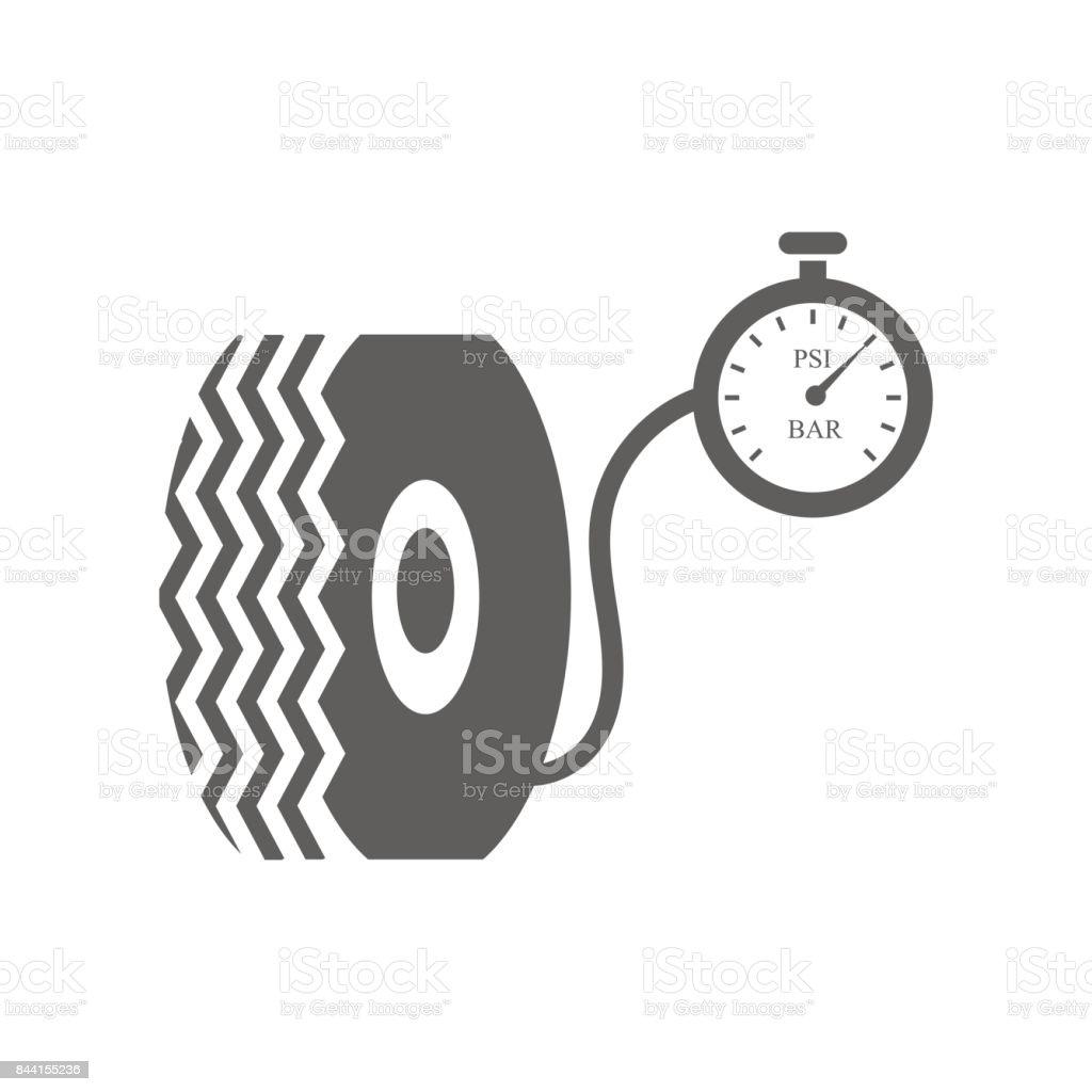 Car tire and compressor vector art illustration