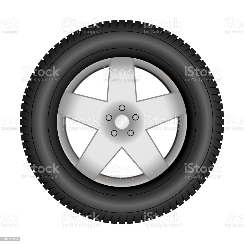 Car tire on an alloy wheel vector art illustration