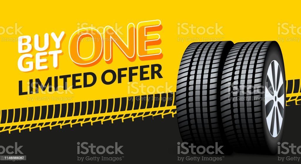 Car tire sale banner, buy 1 get 1 free. Car tyre service flyer promo background. Tire sale advertising Car tire sale banner, buy 1 get 1 free. Car tyre service flyer promo background. Tire sale advertising. Advertisement stock vector