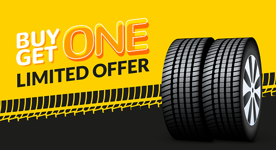 Car tire sale banner, buy 1 get 1 free. Car tyre service flyer promo background. Tire sale advertising