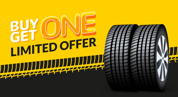 Car tire sale banner, buy 1 get 1 free. Car tyre service flyer promo background. Tire sale advertising Car tire sale banner, buy 1 get 1 free. Car tyre service flyer promo background. Tire sale advertising. tired stock illustrations