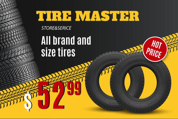 Car tire shop or auto wheel tyre store sale offer Tire shop vector banner of car wheel tyres with tread track and sale price offer. Tire shop, spare parts and auto service discount promotion design tire vehicle part stock illustrations
