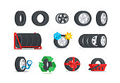 Car tires icon set. Color tyres in flat style. Сoncept for service or store. Isolated vector illustration.