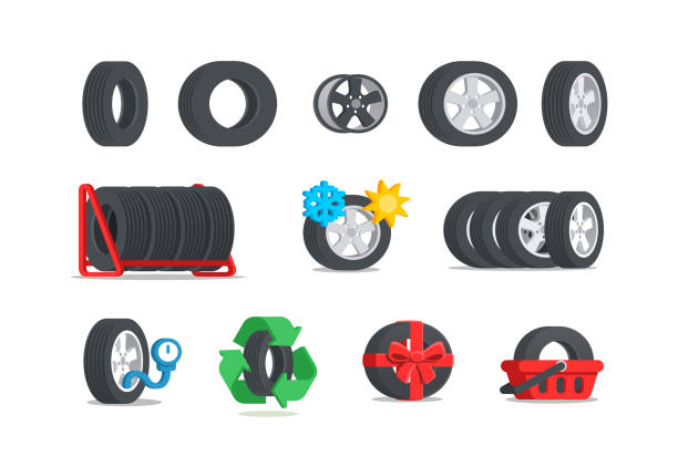 Car tires icon set. Car tires icon set. Color tyres in flat style. Сoncept for service or store. Isolated vector illustration. automobile industry stock illustrations