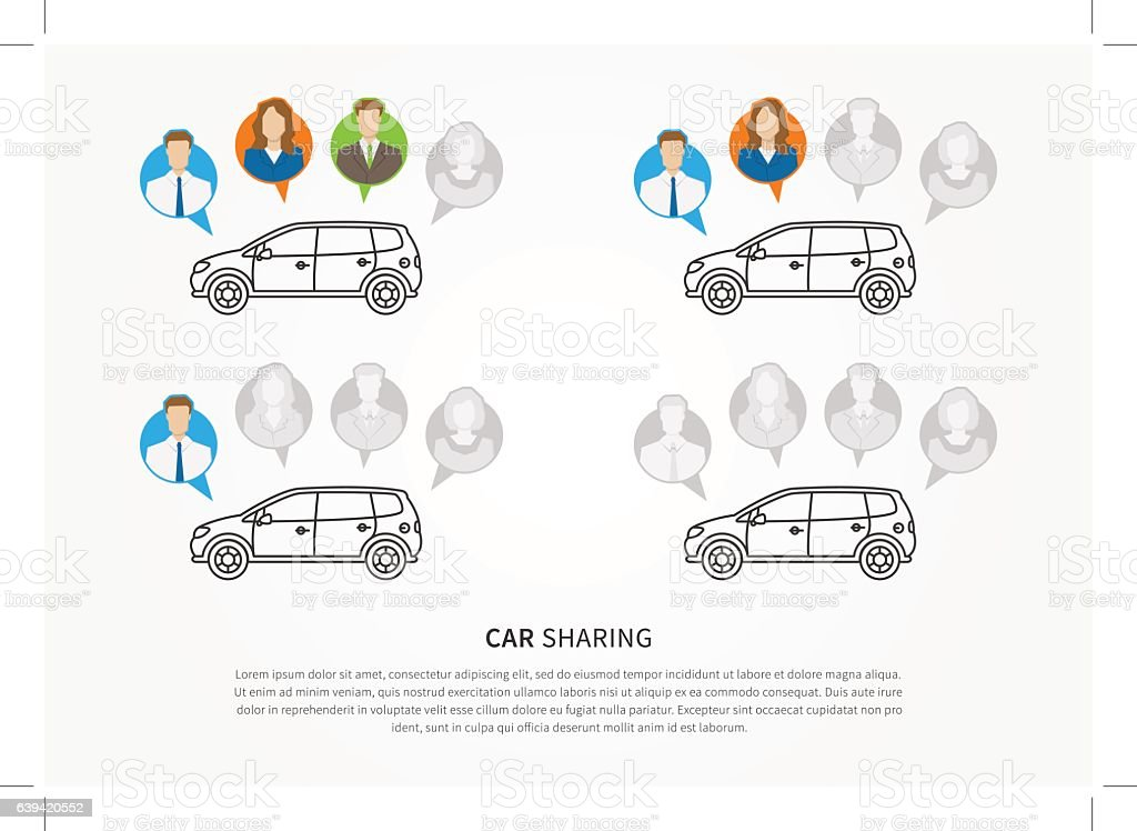 Car to share graphic design - Illustration vectorielle