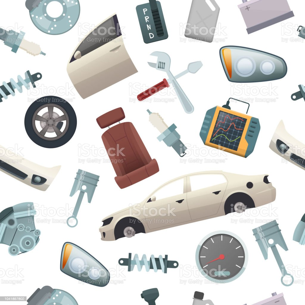 Car tools pattern. Mechanic details of automobile isolated parts...