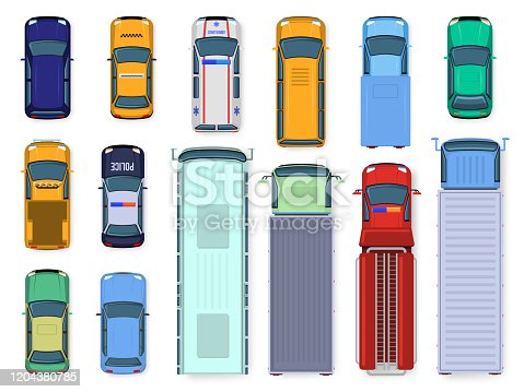Car top view. Street vehicle engine roof viewing, traffic cars, city bus, ambulance and truck, public and civil transport isolated vector illustration set. flat color different vehicles from above