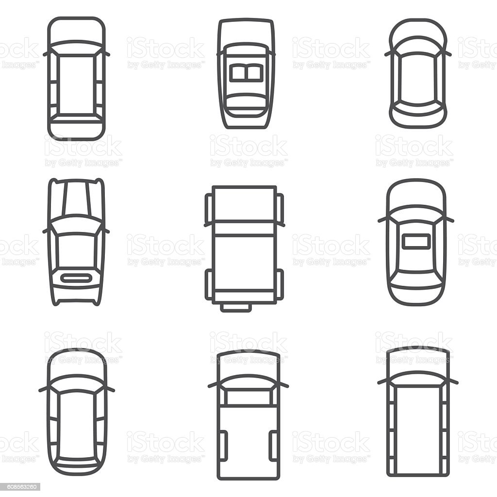 car top view vector icons stock vector art amp more images