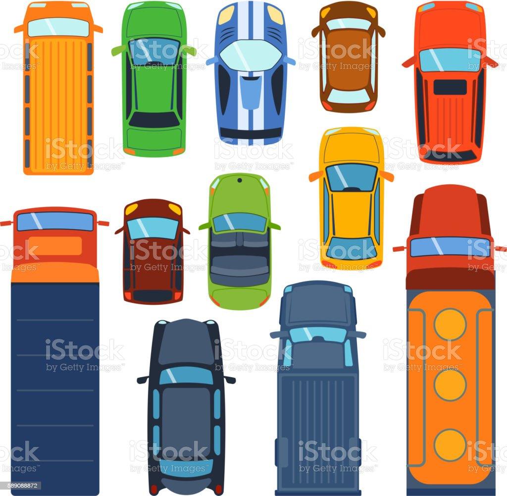 Car top view vector set. vector art illustration