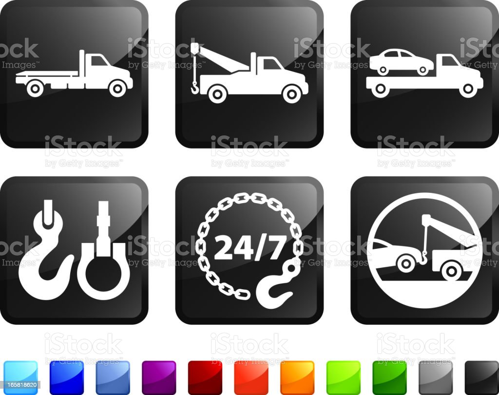 Car Towing Service and Tow Truck vector icon set stickers vector art illustration