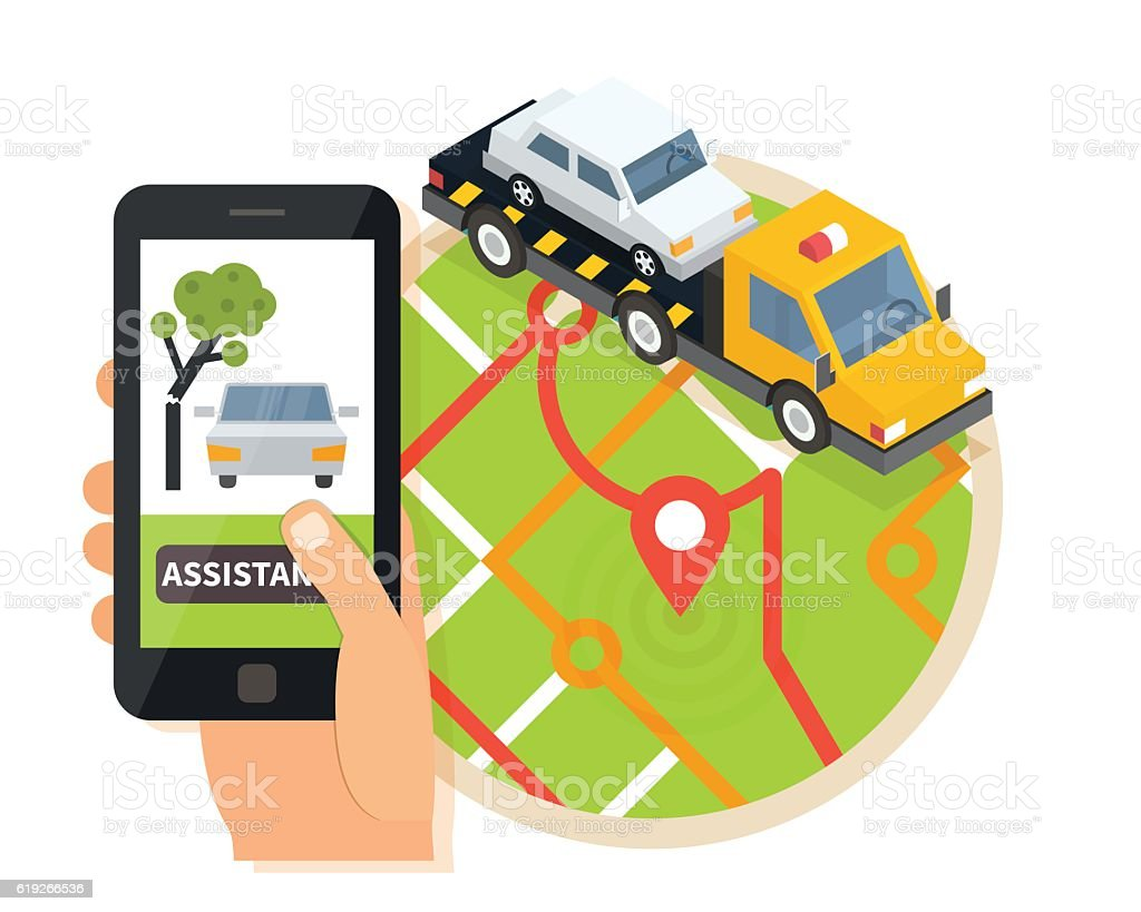 Car towing truck, online roadside assistance. Evacuator in mobile app vector art illustration
