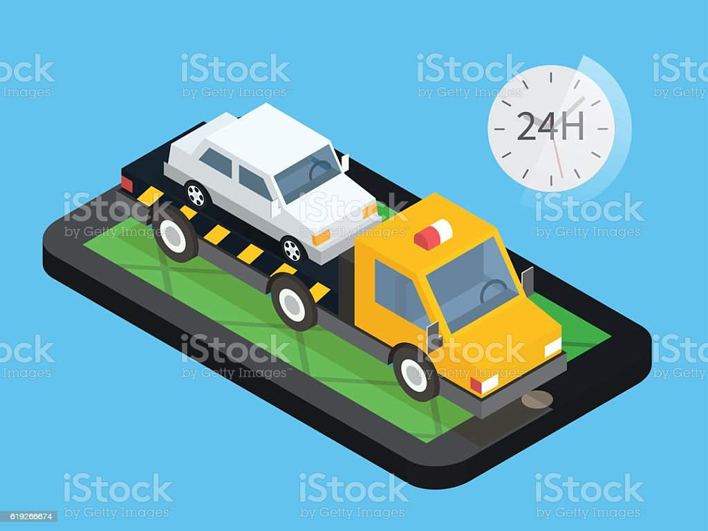 Car Towing Truck Online Roadside Assistance Evacuator In Mobile App ...