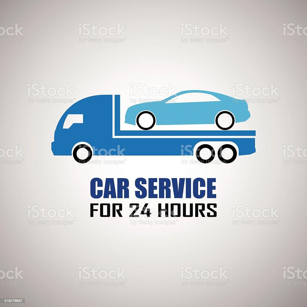car towing truck vector art illustration
